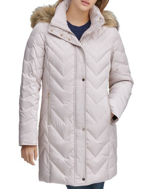 MARC NEW YORK Chevron Down-Fill Faux-Fur Hooded Coat in Ivory