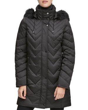 MARC NEW YORK Chevron Down-Fill Faux-Fur Hooded Coat in Black