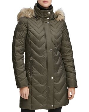 MARC NEW YORK Chevron Down-Fill Faux-Fur Hooded Coat in Olive