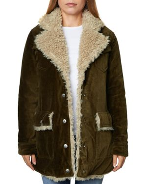 SAGE Collective Valley Faux Shearling-Lined Corduroy Jacket in Moss