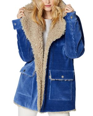 SAGE Collective Valley Faux Shearling-Lined Corduroy Jacket in Cadet Blue