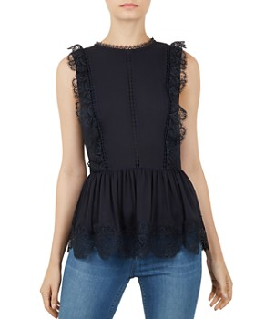 Ted Baker - Omarri Lace-Trimmed Peplum Top