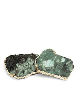 ANNA new york - Emerald & Gold Kivita Coasters, Set of 2