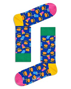 Happy Socks Multicolor Hamburger-Print Socks - Bloomingdale's_0