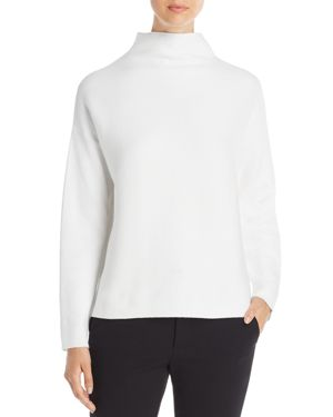 Mock-Neck Long-Sleeve Sweater, Regular & Petite, White