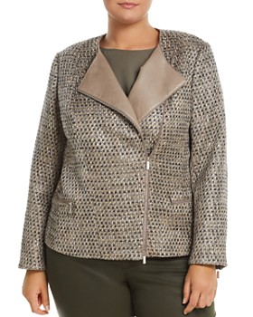 Lafayette 148 New York Plus - Trista Suede-Trimmed Metallic Tweed Jacket