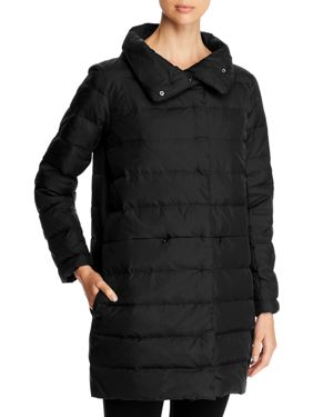 Recycled Nylon Cocoon Puffer Coat, Black