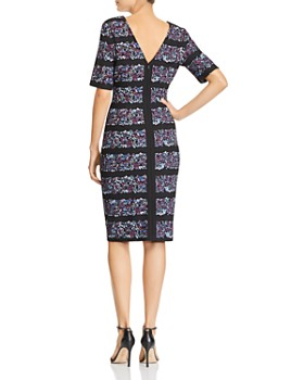 Adrianna Papell - Floral-Stripe Crepe Dress