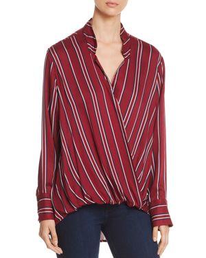 VELVET HEART Striped Faux-Wrap Shirt in Wine/Navy