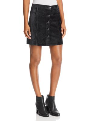 Velvet Mini Skirt In Blackened Emerald by 7 For All Mankind