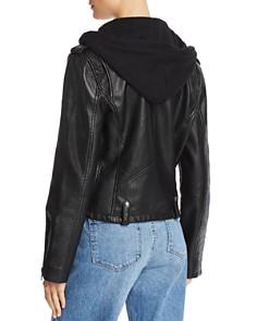 BLANKNYC - Hooded Faux Leather Moto Jacket
