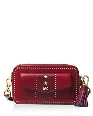 5d861c7ce429 Michael Michael Kors Small Pocket Studded Leather Camera Bag In Maroon  Oxblood Gold