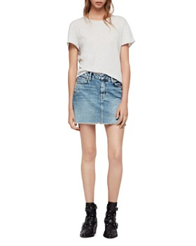 ALLSAINTS - Betty Studded Frayed Denim Skirt
