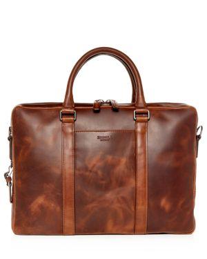 SHINOLA Men'S Navigator Leather Laptop Briefcase in Medium Brown