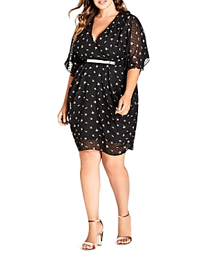 City Chic Plus Belted Floral-Print Dress