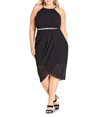 City Chic Plus Allure Sleeveless Draped Dress