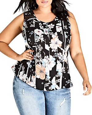 City Chic Plus Sleeveless Floral-Print Top