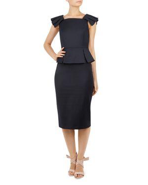 Ted Working Title Rivaa Peplum Sheath Dress, Dark Blue