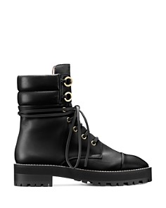 Stuart Weitzman - Women's Lexy Round Toe Leather Lace Up Boots