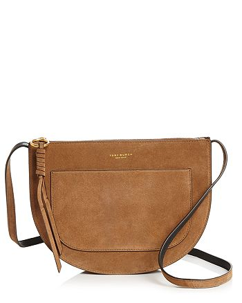Tory Burch Piper Large Suede Saddle Bag