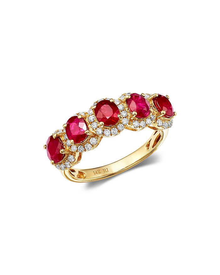 Bloomingdale's - Ruby & Diamond Band Ring in 14K Yellow Gold - 100% Exclusive