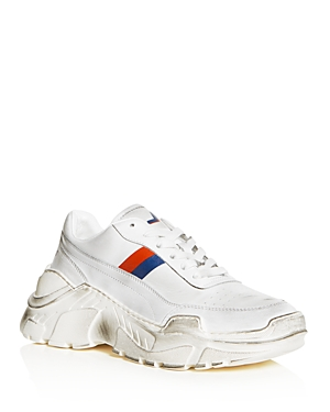 Joshua Sanders WOMEN'S DISTRESSED LEATHER LACE UP PLATFORM SNEAKERS