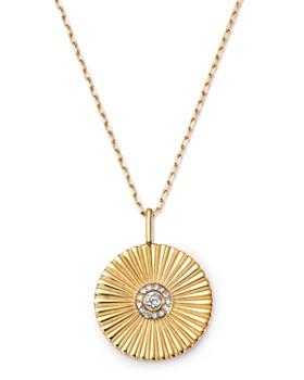 "Adina Reyter - 14K Yellow Gold Rays Diamond Large Pendant Necklace, 20"""