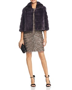 Maximilian Furs - Plucked Mink Fur Bolero with Chinchilla Fur Trim
