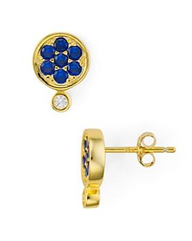 AQUA - Double Pavé & Bezel Stud Earrings in 18K Gold Tone-Plated Sterling Silver - 100% Exclusive