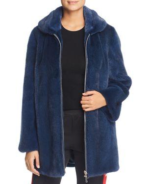 MAXIMILIAN FURS X Bibhu Mohapatra Mink Fur Coat in Dark Blue