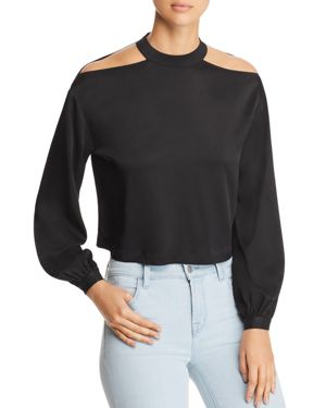 MARLED X Olivia Culpo Shoulder-Cutout Cropped Blouse in Black