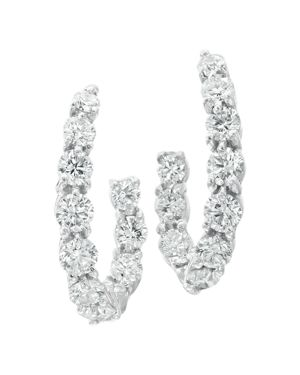 GUMUCHIAN 18K White Gold New Moon Diamond Curve Mini Hoop Earrings