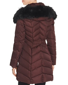 T Tahari - Gwen Faux Fur Trim Quilted Puffer Coat