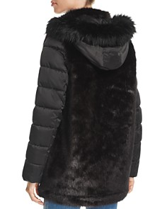 Via Spiga - Mixed Media Faux Fur & Puffer Coat