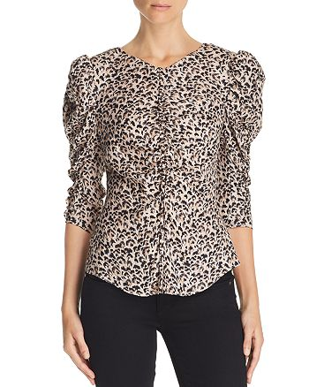 97d5b351bcc246 Rebecca Taylor Ruched Leopard-Printed Silk Top | Bloomingdale's