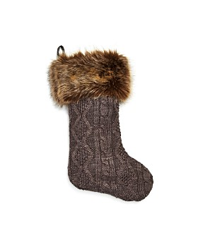 Bloomingdale's - Cable Knit & Faux-Fur Stocking - 100% Exclusive