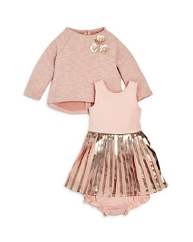 Pippa & Julie - Metalix Pleated Dress, Top & Bloomers Set - Baby