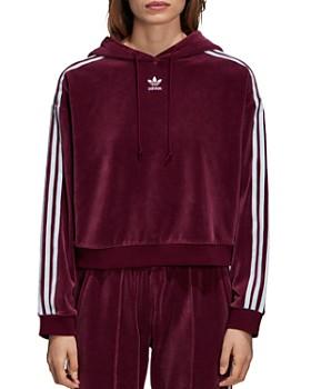 Adidas - Striped Velour Hooded Sweatshirt
