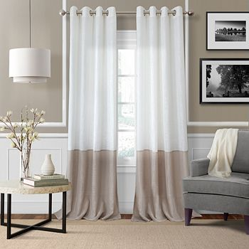 """Elrene Home Fashions - Melody Sheer Colorblock Window Panel, 52"""" x 95"""""""
