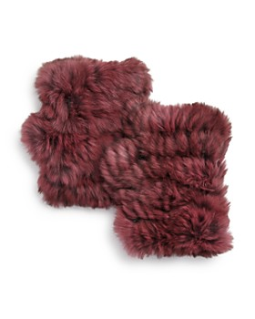 Jocelyn - Knit Rabbit Fur Fingerless Gloves