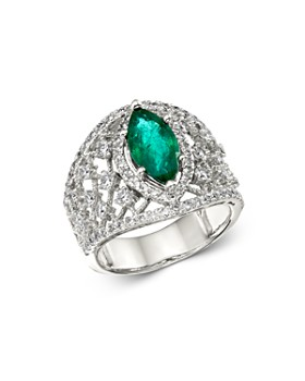 Bloomingdale's - Emerald & Diamond Statement Ring in 14K White Gold - 100% Exclusive