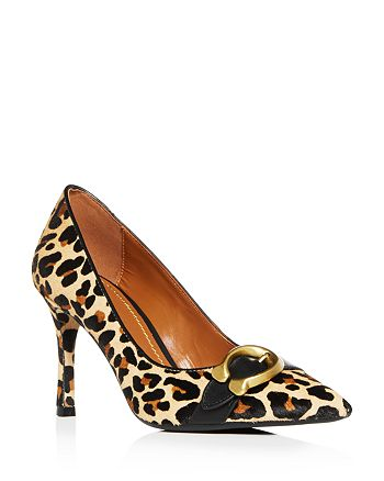 2373e324d397 COACH Women's Waverly Leopard Print Calf Hair Pointed Toe Pumps ...