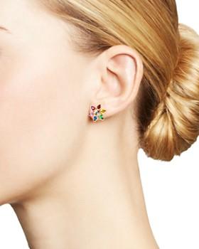 SheBee - 14K Yellow Gold Sapphire, Blue Topaz, Amethyst & Tsavorite Rainbow Flower Stud Earrings