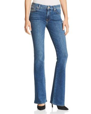 7 For All Mankind Embroidered-Pocket Flared Jeans in Glam Medium 3117256