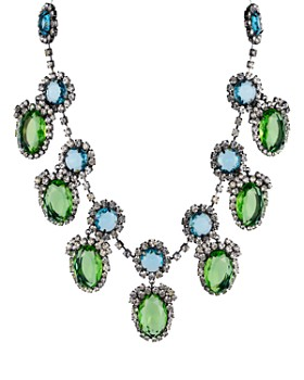 Kenneth Jay Lane - Peridot Drops Statement Necklace, 18""