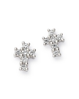 Bloomingdale's - Diamond Mini Cross Stud Earrings in 14K Gold - 100% Exclusive