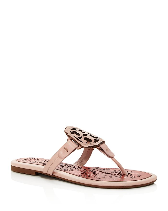 153024f5c Tory Burch Women's Miller Scallop Leather Thong Sandals In Sea Shell Pink/  Tramonto