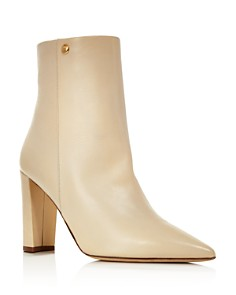 Tory Burch - Women's Penelope Pointed Toe Leather High-Heel Booties