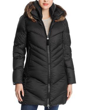 POST CARD Saltoro Fur Down Coat in Black
