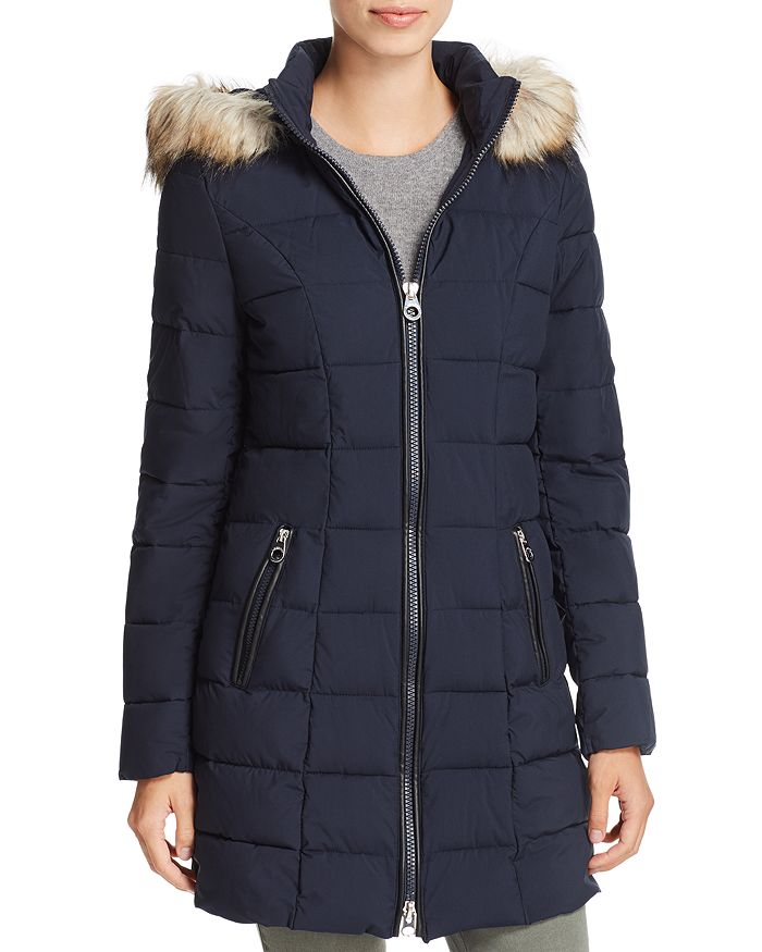 Laundry By Shelli Segal LAUNDRY BY SHELLI SEGAL FAUX FUR TRIM HOODED PUFFER COAT